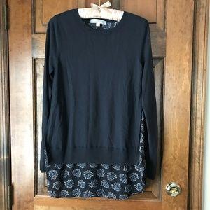 LOFT Gray Sweater over Gray Paisley Small